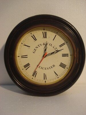 LARGE - Vintage Style GENTS & CO. - LEICESTER Wall Clock - Wooden & Brass (2798)