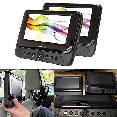 Car DVD Player Dual Screen Portable USB TFT Monitors Black Built in Speakers 7""