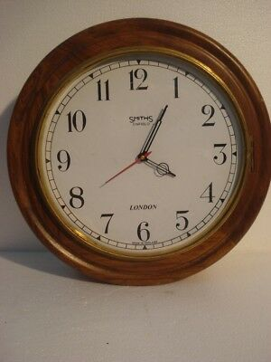 LARGE - Vintage Style SMITHS  LONDONG Wall Clock - Wooden & Brass (2806)