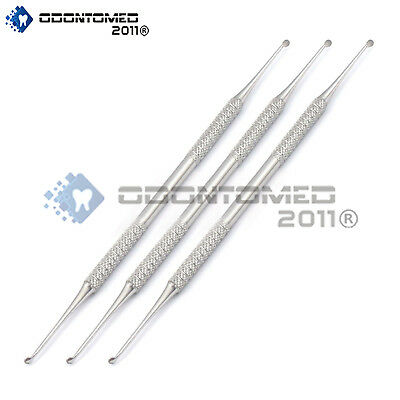 Set Of 3 Dental Molt Curette 2/4 Surgical Curettage Removal Instruments