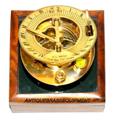 Wooden Box Maritime Compass Sundial Clock Navigation Vintage Decor Compass Sun-D