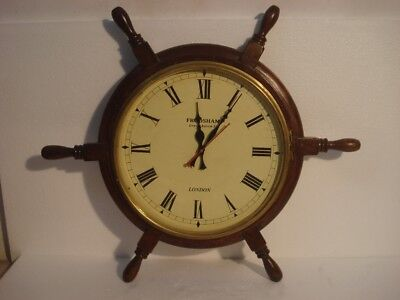 LARGE - Vintage Style   LONDON Wall Clock - Wooden & Brass (2801)