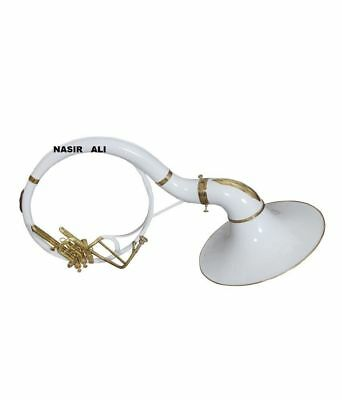 """NASIR ALI SOUSAPHONE 21"""" BELL Bb PITCH WHITE COLOR WITH FREE CARRY BAG AND MP"""