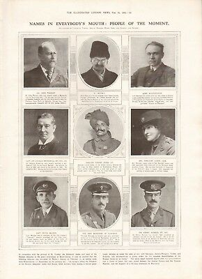 1918  Antique Print Ww1 - People Of The Moment, Trotsky, Beaverbrook, Singh Vc