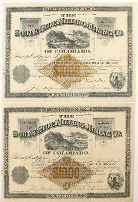 Two South Side Milling and Mining Co. Stock Certificates (Leadville) Lot 5137