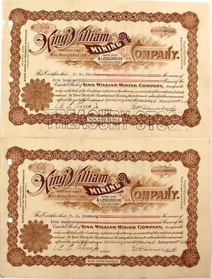 King William Mine Co. Stock Pair Lot 5376