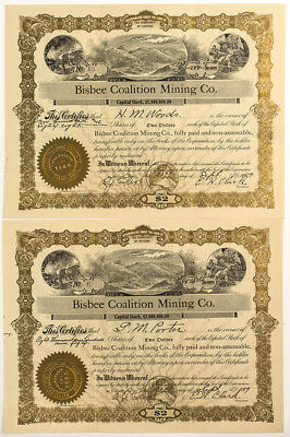 Two Bisbee Coalition Mining Co. Stock Certificates Lot 5018