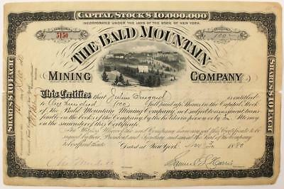 Bald Mountain Mining Company Stock Certificate (1880) (Leadville) Lot 5135