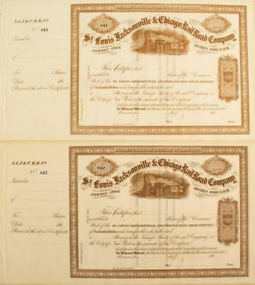 St. Louis Jacksonville & Chicago Railroad Company Stock Certificates Lot 5162