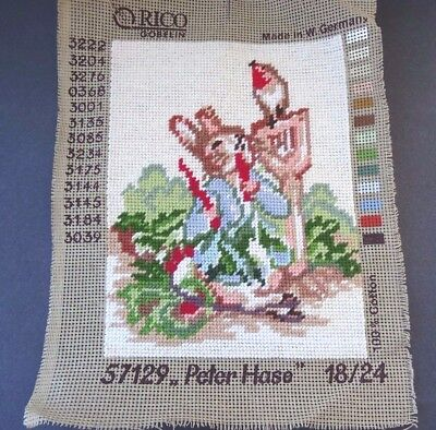 Completed Vintage Needlepoint Tapestry Panel Beatrix Potter Peter Rabbit Orico
