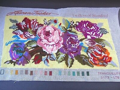 Completed Floral Needlepoint Tapestry Panel Twilleys of Stamford - Tranquillity