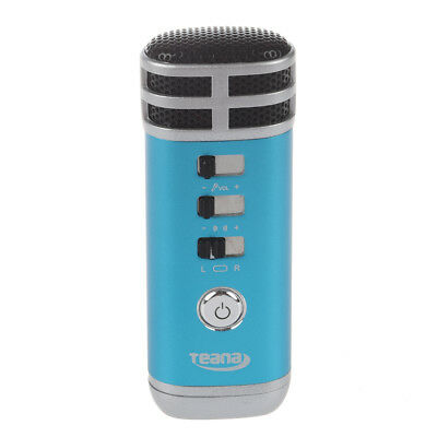 Teana Mini 3.5mm Microphone Karaoke Player for PC/Phone/PSP/MP4/MP3 Blue Y4B5