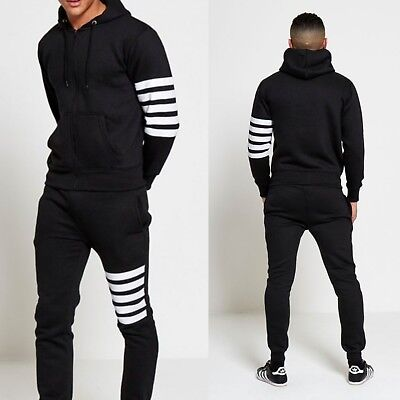 Mens Black Hooded Tracksuit size M
