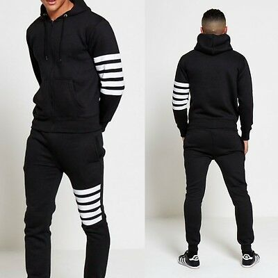 Mens Black Hooded Tracksuit size L