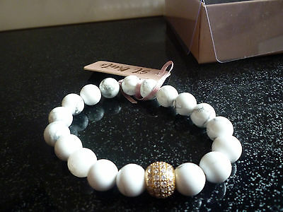 Large Bead Bracelet Natural Gemstone Howlite  Diamonte St Barts New With Tags
