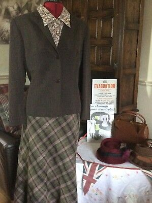vintage 1940s WWII Land girl Style Checked Cavita lined Skirt Size 18