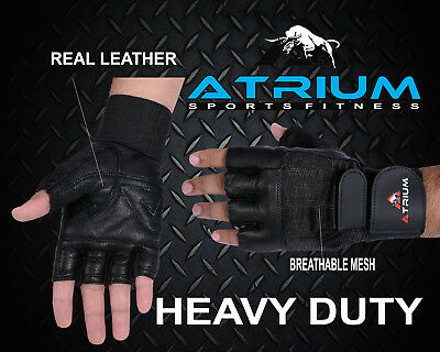 Atrium Gym Gloves Weight Lifting Padded Fitness Training Body Building Straps A