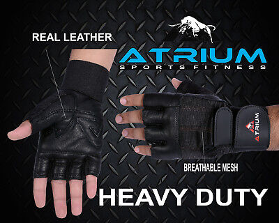 Atrium Gym Weight Lifting Gloves Padded Fitness Training Body Building Straps Au