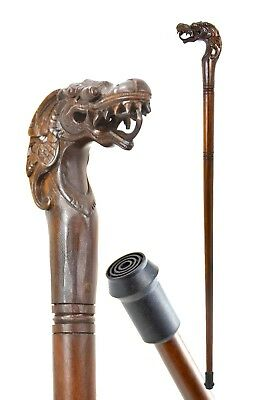 Dragon wooden walking stick / cane - Hand carved with FERRULE - BOXED item