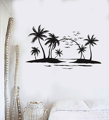 Vinyl Wall Decal Sun Palms Beach Style Ocean Islands Art Stickers Mural (ig5014)