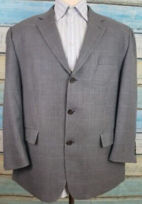 Chaps Size 44S Wool Silk Blend Grey 3 Button  Windopane And Houndstooth Blazer