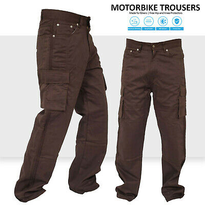 Motorbike Motorcycle Brown Cargo Trousers Jeans Reinforced With Aramid Fibres