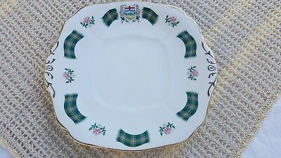 Royal Adderley Alberta Tartan Green Cake Dessert Serving Plate English China