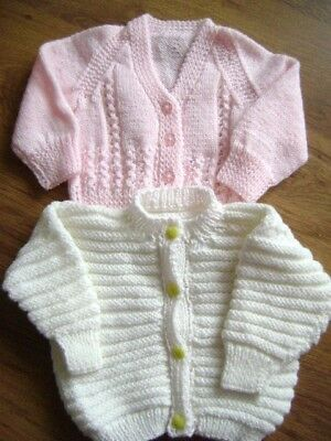 2 New Hand Knitted Pink-Cream Cardigans 12/18 months