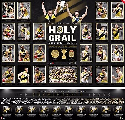 2017 Richmond Tigers Holy Grail Premiers Premiership Poster Print + Vfl Montage