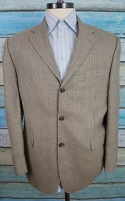 Savile Row Gold  42R Wool And Bamboo Beige And Black 3 Button  Blazer