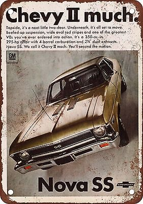 """7"""" x 10"""" Metal Sign - 1968 Chevy Nova SS - Vintage Look Reproduction"""