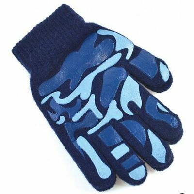 OCTAVE® Boys Camoflague Design Magic Gripper Gloves Khaki Navy or Grey