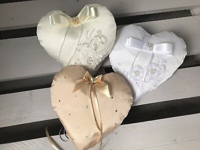 FAB White Ivory Champagne HEART Wedding Ring Cushion Bearer Pillow Lace Diamante