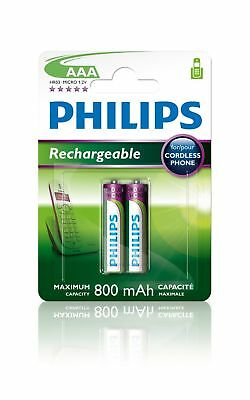 Philips Multilife 1.2V R03 800mAh NiMH Rechargeable AAA Batteries (2 Pack) -