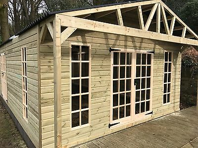 REDWOOD Heavy Duty Timber/wooden summerhouse shed/building - 15ft x 24ft