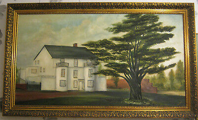 Very large antique oil painting on canvas ,Cedar Motel ,signed,gilt framed