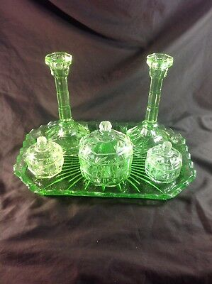 Vintage : Green Glass Dressing Table Set & Tray