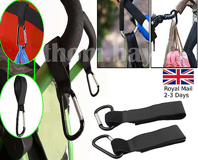 2pcs Baby Pushchair Pram Stroller Buggy Hanger Trolley Carabiner Clip Black Hook