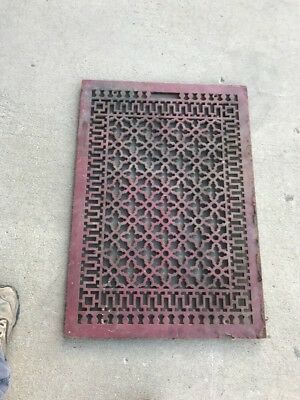 02 Antique Heavy Floor Or Wall Heating Grate 22 3/8 X 32 And Three Eights
