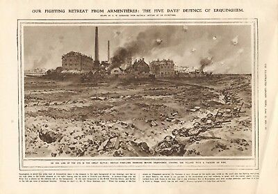 1918  Antique Print Ww1 -Retreat From Armentieres-Defence Of Erquinghem