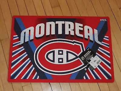 "Montreal Canadiens NHL Sports Utility Print Mat 18"" x 27"" Non Skid Latex Backed"