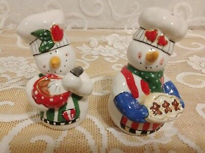 Blue Skye Clayworks Heather Goldminc Snowmen Salt and Pepper Shakers NEW !