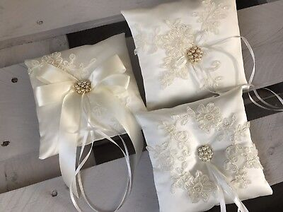 FAB IVORY Wedding Ring Cushion Bearer Pillow Sparkly Beaded Floral Lace 4 Styles