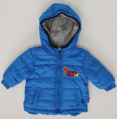 Baby Boys Blue Hooded & Padded Jacket (Sizes from 3-12 Months)