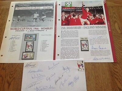 1966 World Cup Winnears and Alf Ramsey autographs on commerative stamps