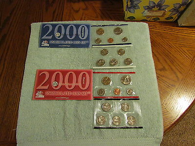2000 US Mint Set P and D Original Envelope 20 Coins Sacagawea Kennedy Washington