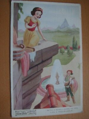 Disney vintage postcard Snow White and Troubadour Prince, No 4174 1939