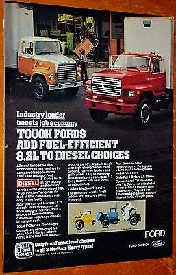 1982 Ford F-600 L8000 For 8.2L Fuel Pincher Diesel Truck Engine Ad - 80S Retro