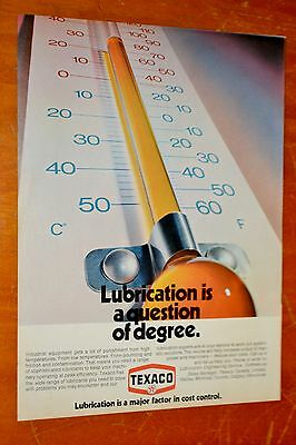 1972 Texaco Lubricants & Thermometer Canadian Ad + Alberta Vodka Ad On Back