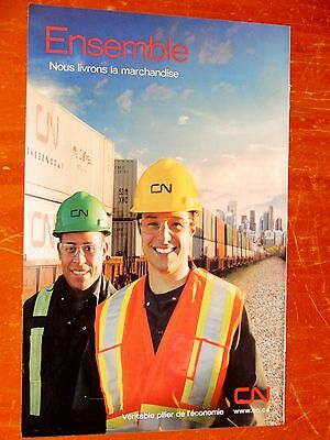 French 2011 Cn Canadian National Ad With Workers & Intermodal Train - Beautiful